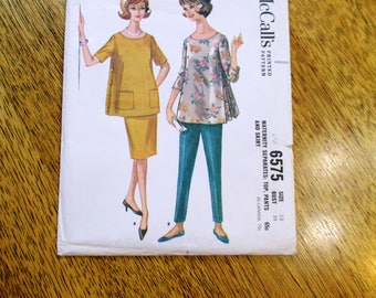 "RESERVED - 1960s A-Line Maternity Top, Pencil Skirt & Tapered Pants - Size 13 (Bust 33"") - UNCUT Vintage Sewing Pattern McCalls 6575"
