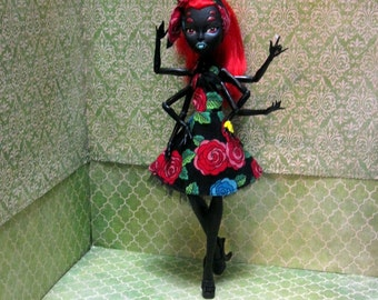 Monster High Doll Clothes - 50s Rockabilly Dress with headscarf! 2016-21-50s