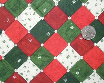 Checks and Buttons on Red and Green Holiday Fabric