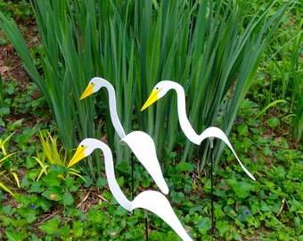 SET of 3 Spinning Birdie Chicks. 3 delightful wind spinners to enliven your garden. They spin easily with the slightest  breeze .