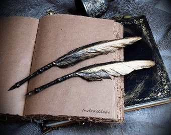 Black and Gold Feather Quill Pen, Harry potter Quill Pen, Black gold  Feather pen, Black Quill Dip Pen, calligraphy pen, black ink bottle