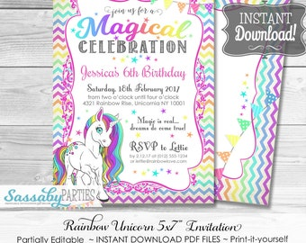 Unicorn Invitation / INSTANT DOWNLOAD / Rainbow / Partially Editable & Printable / Birthday Party Invite / Sassaby Parties