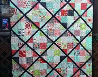 Modern Patchwork Lap Quilt - Small Twin Bed Quilt - Large Baby Quilt, Large Toddler Girl Quilt, Lattice Quilt - Ready to Ship