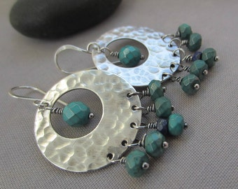 SALE 20% OFF/ Sterling Silver Hoop Earrings/ Silver Hammered Earrings with Lapis and Turquoise/ Turquoise earrings/ Lapis Hoop Earrings