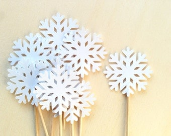 Snowflake Cupcake Toppers, Party Decor, Frozen Party, Winter, Christmas, White, Weddings, Showers, Birthdays, Set of 18
