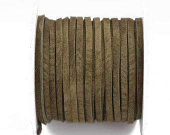 "1/8"" Suede Leather Lace, DARK OLIVE, real leather by the yard, Realeather made in USA, 3mm wide, 25 yards, Lth0016"