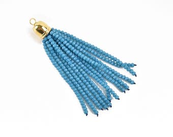 """Crystal Bead Tassel Charm Pendant, TEAL BLUE crystals with GOLD cap, about 3"""" long, chg0615"""