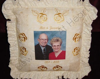 Personalized Wedding or Anniversary Keepsake Pillow, Cover Only