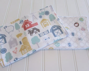 Burp Cloths/Set of Two/Farm Fresh/Cotton Front/Organic Cotton Double Flannel Backing