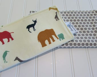 SWEET NATURALS/Organic Line/Burp Cloths/Set of Two/Serengeti/Organic Cotton Front/Organic Cotton Double Flannel Backing