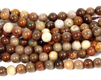 6mm Brazil Petrified Wood Beads -15 inch strand