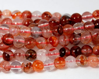 6mm Red Iron Quartz Beads -15 inch strand