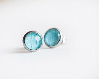 Aqua Stud Earrings, Aqua Blue, Stud Earrings, Tread, Aqua, Blue Earrings, Small Earrings, Aqua Studs, Ocean Blue Studs, Industrial studs