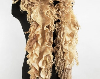 "Scarf-boa eco boho handmade felted ""Golden"" (scarves eco-friendly boho-chic handmade felted buy)"