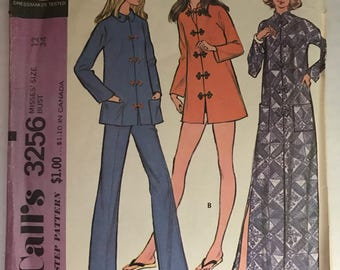 Vintage McCalls 3256 Robe or Jacket and Pants Pattern Size 12 Bust 34 Hard to find Pattern