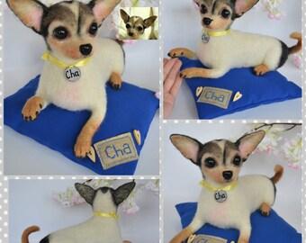 Custom Chihuahua Artist Needle Felted Dog Sculpture Memory pet Portrait Sculpture of your pet Dog replica stuffed dog Wool art toys