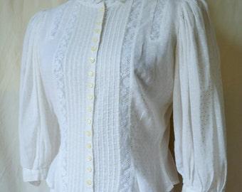 ROMANTIC vintage 70's does 20's swiss dot cotton lace blouse top