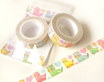 Alpaca Washi Tape. Planner Decoration. Kawaii Washi Tape. Cute Washi Tape. Masking Tape. Planner Supplies. Craft Tape. Animal Washi Tape.