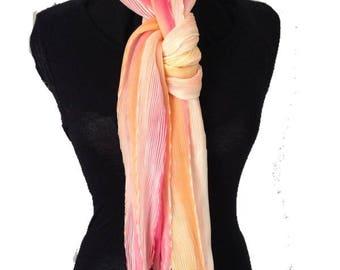 Arashi shibori pleated silk scarf - Style: Chevron, colour - Sorbet