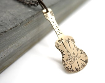 guitar necklace, singer, songwriter, guitar player, statement necklace, bird necklace, simple, gift, jewelry