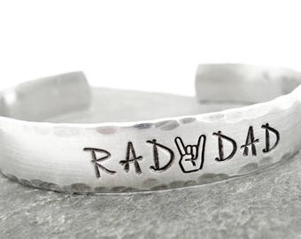 mens gift, mens jewelry, mens bracelet - funny fathers day - hand stamped jewelry - son to father gift, dad, rock on, rad dad, rustic