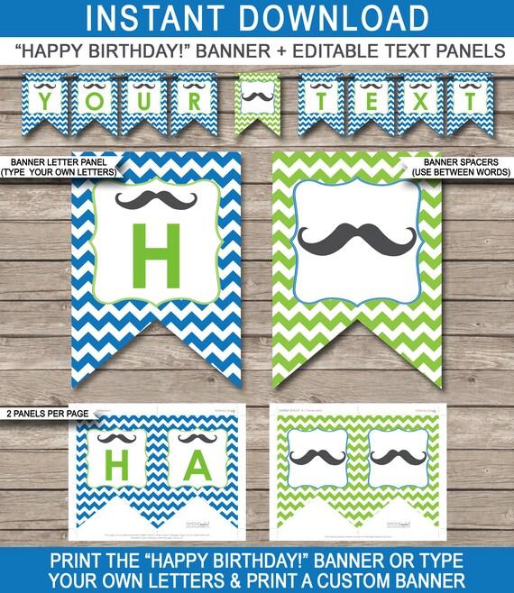 Mustache Party Banner Happy Birthday Banner Custom Banner