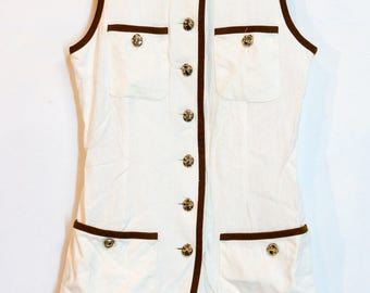 60s military style blouse vest dress