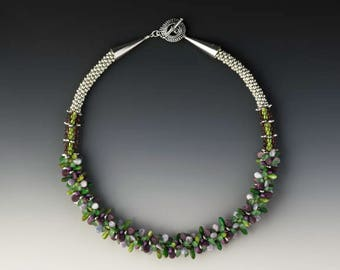 PURPLE GREEN and SILVER Beaded Kumihimo Style Necklace with Sterling Beadcaps and Clasp