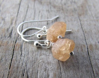 Topaz Earrings, imperial topaz, yellow stone, raw topaz jewelry, silver dangle earrings
