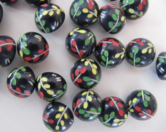 1930's domed 1/2 inch buttons, 30 pcs Art Deco colorful black casein plastic buttons, 13mm vintage galalith self shank quality buttons