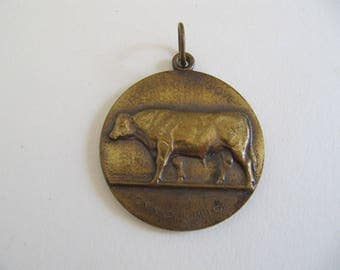 Vintage 1978 award medal medallion pendant badge for champion cattle cow bull, agriculture competition medal,  Belgian pendant, Belgium item