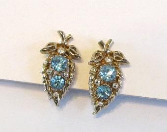 1950s Blue Rhinestone Earrings Signed Coro, Vintage Coro Screw Back Earrings