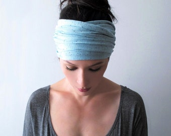 TURQUOISE Blue Yoga Headband - Bohemian Hair Wrap - Turquoise Head Scarf - Jersey Headband - Yoga Headband - Bohemian Hair Accessories