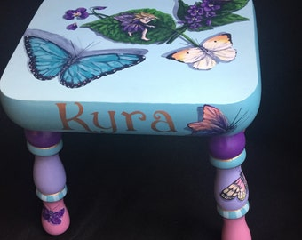 Fairies and Butterflies Hand painted Footstool