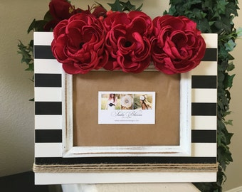 Picture frame - 5x7 Picture frame - Wood picture frame - Shabby chic picture frame - Flower picture frame - Rustic picture frame -Home decor