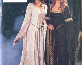 Butterick 3552 sewing pattern, historical dress, medieval costume dress with long sleeves, cape and train, royal dress sizes 12-14-16 UNCUT
