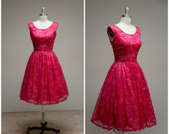 Vintage 1950s Dress • Just Right • Pink Printed Nylon Chiffon 50s Party Dress Size Small