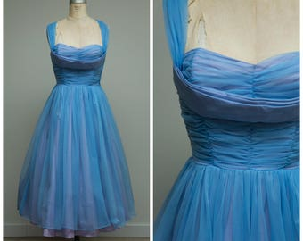 Vintage 1950s Dress • Something Blue • Light Blue Chiffon Strapless 50s Party Dress with Back Drape Size Medium
