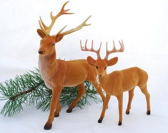 Vintage 1960's Fuzzy Flocked Deer Pair - Woodland Christmas Village Decor