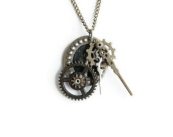 Antiqued Industrial Repurposed Handmade Ooak Machinery Brass and Silver Riveted Kinetic Collage Necklace