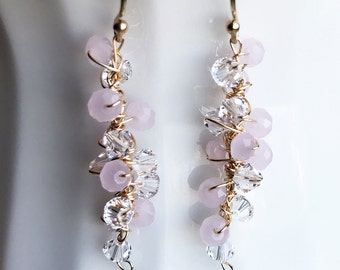 Pink Gold Statement Dangle Earrings