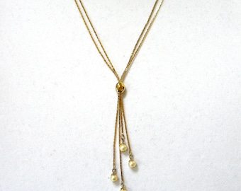 signed Napier Lariat Necklace, bolo, pearl lariat, double chain, moveable slide, gold tone, pearl dangles, gift idea, Excellent