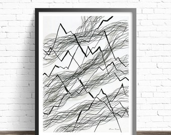 Minimalist Black and white Print. Abstract Art Prints. Line drawing print. Modern art. Minimalist print. Modern abstract art