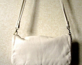 Crossbody Bag or Clutch Purse Stone Mountain shoulder bag ivory cream bone white soft leather long strap purse vintage 80s 90s handbag