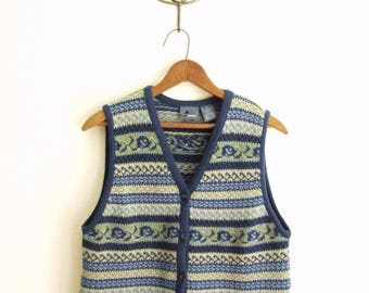 fair isle sweater vest, button front cotton cardigan, mori girl tomboy, boho hippie, blue green, vintage 90s Liz Claiborne, women medium