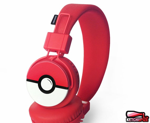 Poke-phones customized Pokemon go headphones iphone gift for him for her red Pokeball Pokemon gifts video game sound red music Plattan