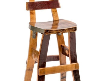 Wine Barrel Barstool (Tall Back)