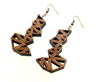 geometric earrings, wood jewelry eco friendly modern - Bamboo Triangle Cluster Earrings Large. laser cut, summer earrings
