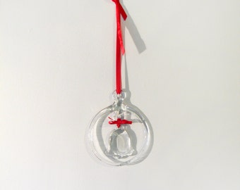 Vintage Kosta Boda Glass Bell Hanging Sun Catcher Swedish Christmas
