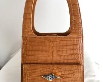 Vintage Vicenza Tan Crocodile Embossed Leather Handbag